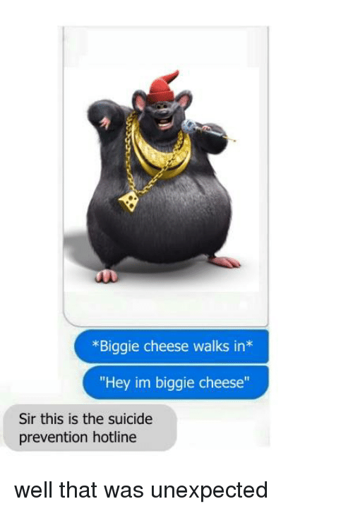 "Dank, Suicide, and 🤖: *Biggie cheese walks in  ""Hey im biggie cheese""  Sir this is the suicide  prevention hotline well that was unexpected"