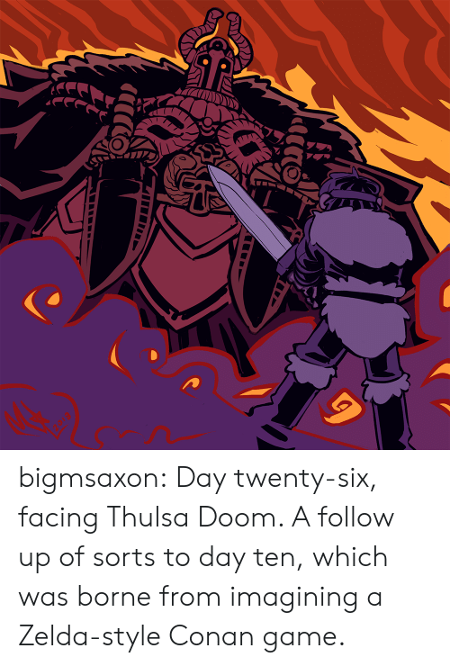 Zelda: bigmsaxon:  Day twenty-six, facing Thulsa Doom. A follow up of sorts to day ten, which was borne from imagining a Zelda-style Conan game.