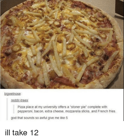 """God, Memes, and Pizza: bigwetnose  reddir-trees  Pizza place at my university offers a """"stoner pie"""" complete with  pepperoni, bacon, extra cheese, mozzarella sticks, and French fries  god that sounds so awful give me like 5 ill take 12"""