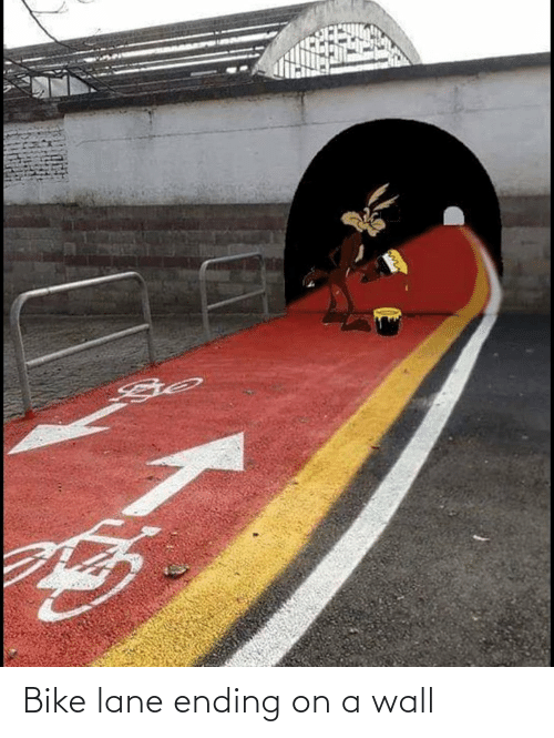 A Wall: Bike lane ending on a wall