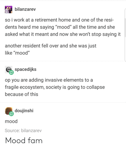 "Fam, Mood, and Work: bilanzarev  so i work at a retirement home and one of the resi-  dents heard me saying ""mood"" all the time and she  asked what it meant and now she won't stop saying it  another resident fell over and she was just  like ""mood""  spacedijks  op you are adding invasive elements to a  fragile ecosystem, society is going to collapse  because of this  doujinshi  mood  Source: bilanzarev Mood fam"