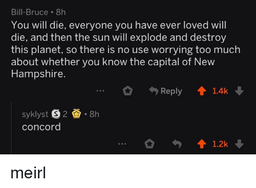 you will die: Bill-Bruce. 8h  You will die, everyone you have ever loved will  die, and then the sun will explode and destroy  this planet, so there is no use worrying too much  about whether you know the capital of New  Hampshire.  Reply 1.4k  syklyst S2.8h  concord  1.2k meirl