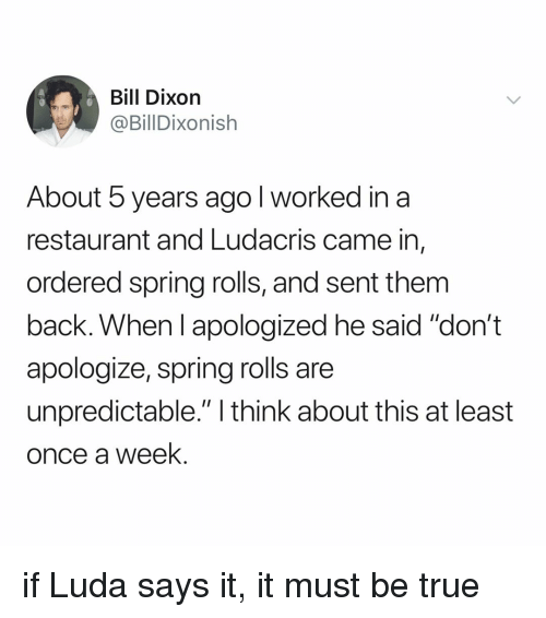 "unpredictable: Bill Dixorn  @BillDixonish  About 5 years ago l worked in a  restaurant and Ludacris came in,  ordered spring rolls, and sent them  back. When I apologized he said ""don't  apologize, spring rolls are  unpredictable."" I think about this at least  once a week. if Luda says it, it must be true"