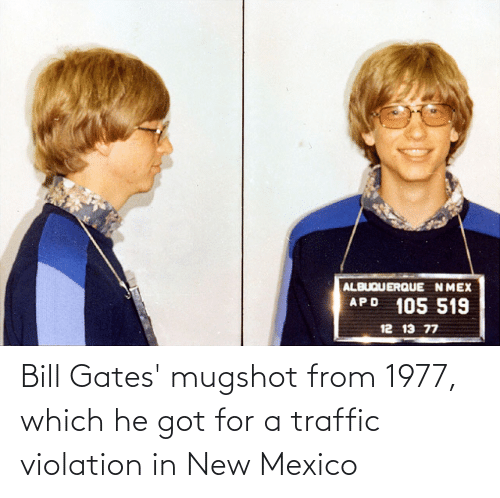 mugshot: Bill Gates' mugshot from 1977, which he got for a traffic violation in New Mexico