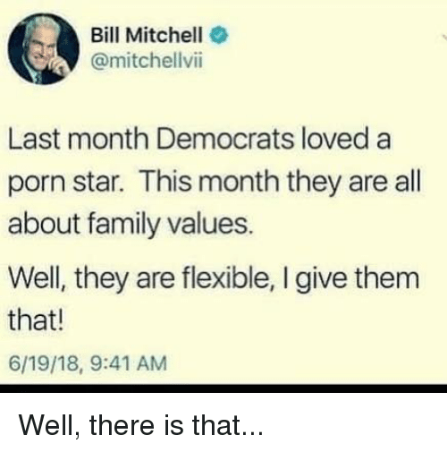 Family, Memes, and Porn: Bill Mitchell  @mitchellvii  Last month Democrats loved a  porn star. This month they are all  about family values.  Well, they are flexible, I give them  that!  6/19/18, 9:41 AM Well, there is that...