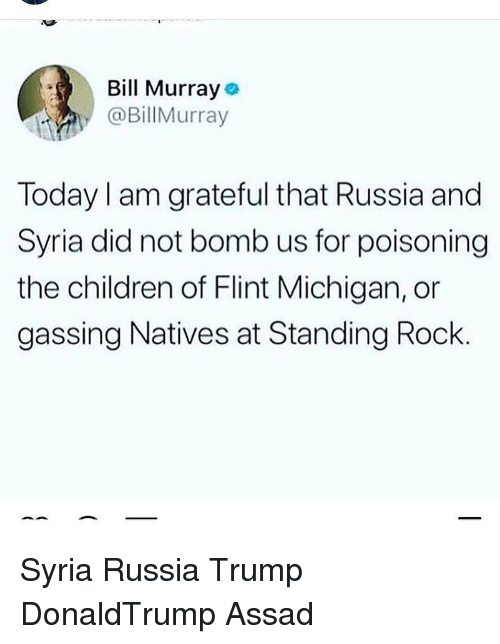 flint michigan: Bill Murray  @BillMurray  Today I am grateful that Russia and  Syria did not bomb us for poisoning  the children of Flint Michigan, or  gassing Natives at Standing Rock Syria Russia Trump DonaldTrump Assad