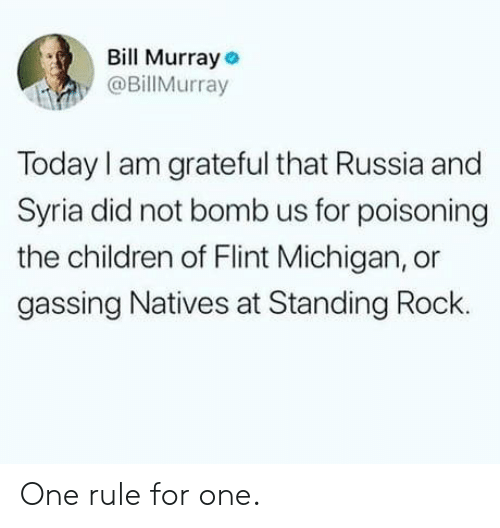 flint michigan: Bill Murray  @BillMurray  Today I am grateful that Russia and  Syria did not bomb us for poisoning  the children of Flint Michigan, or  gassing Natives at Standing Rock. One rule for one.