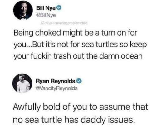 Bill Nye, Dank, and Trash: Bill Nye  @BillNye  G: therecoveringprablomchid  Being choked might be a turn on for  you...But it's not for sea turtles so keep  your fuckin trash out the damn ocean  Ryan Reynolds  @VancityReynolds  Awfully bold of you to assume that  no sea turtle has daddy issues.