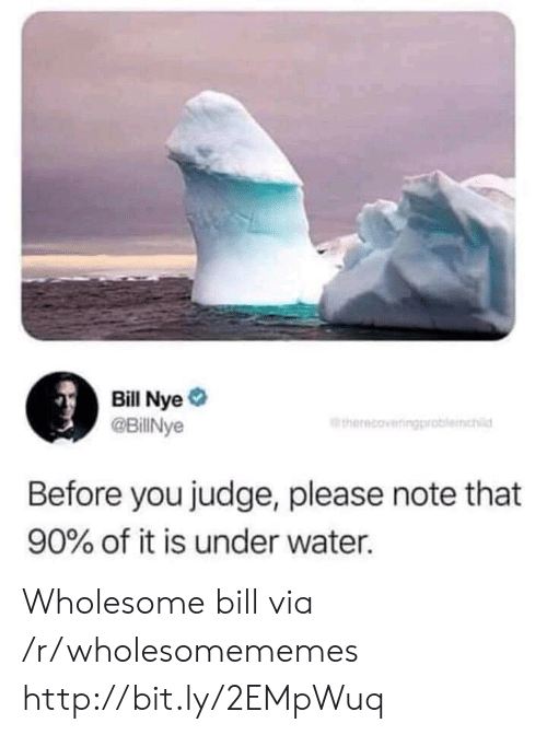 Bill Nye, Http, and Water: Bill Nye  @BillNye  therecoveringproblemchi  Before you judge, please note that  90% of it is under water. Wholesome bill via /r/wholesomememes http://bit.ly/2EMpWuq
