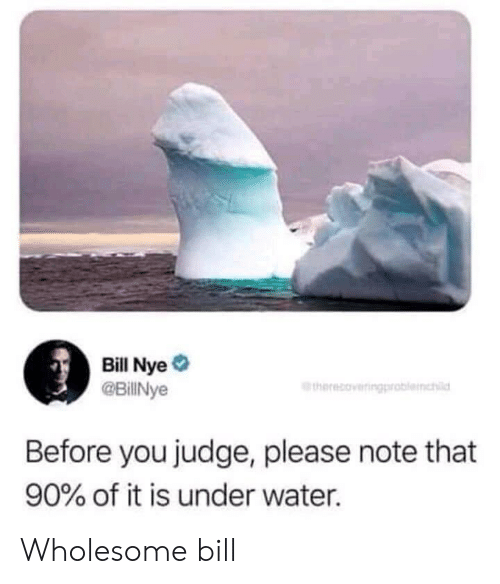 Bill Nye, Water, and Wholesome: Bill Nye  @BillNye  therecoveringproblemhl  Before you judge, please note that  90% of it is under water. Wholesome bill