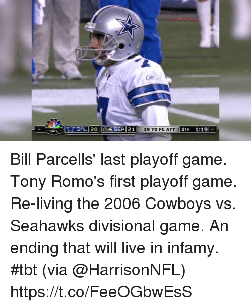 Dallas Cowboys, Memes, and Tbt: Bill Parcells' last playoff game. Tony Romo's first playoff game.  Re-living the 2006 Cowboys vs. Seahawks divisional game. An ending that will live in infamy. #tbt (via @HarrisonNFL) https://t.co/FeeOGbwEsS