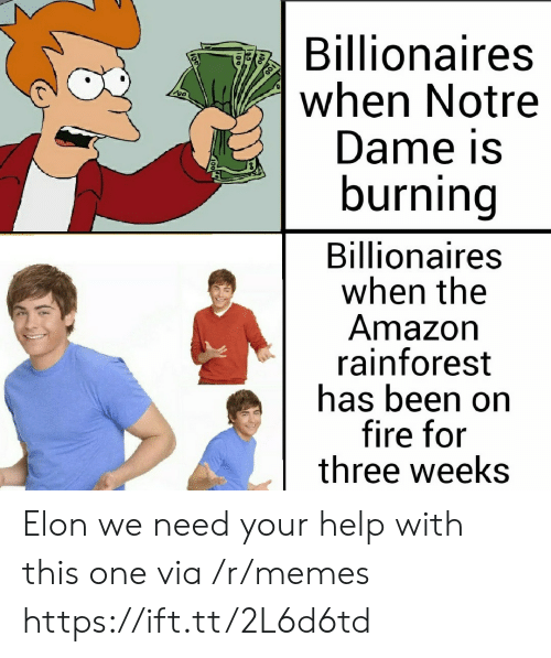 dame: Billionaires  when Notre  Dame is  burning  Billionaires  when the  Amazon  rainforest  has been on  fire for  three weeks Elon we need your help with this one via /r/memes https://ift.tt/2L6d6td