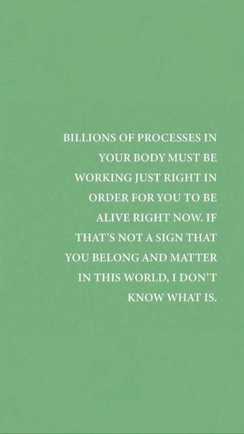 Just Right: BILLIONS OF PROCESSES IN  YOUR BODY MUST BE  WORKING JUST RIGHT IN  ORDER FOR YOU TO BE  ALIVE RIGHT NOW. IF  THAT'S NOT A SIGN THAT  YOU BELONG AND MATTER  IN THIS WORLD, I DON'T  KNOW WHAT IS.