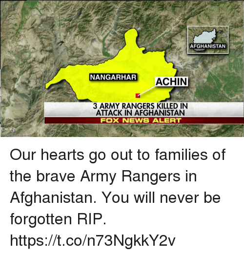 bingeing: bing  Micronoft Corporation  AFGHANISTAN  NANGARHAR  ACHIN  3 ARMY RANGERS KILLED IN  ATTACK IN AFGHANISTAN  FOX NEVWS ALERT Our hearts go out to families of the brave Army Rangers in Afghanistan. You will never be forgotten RIP. https://t.co/n73NgkkY2v