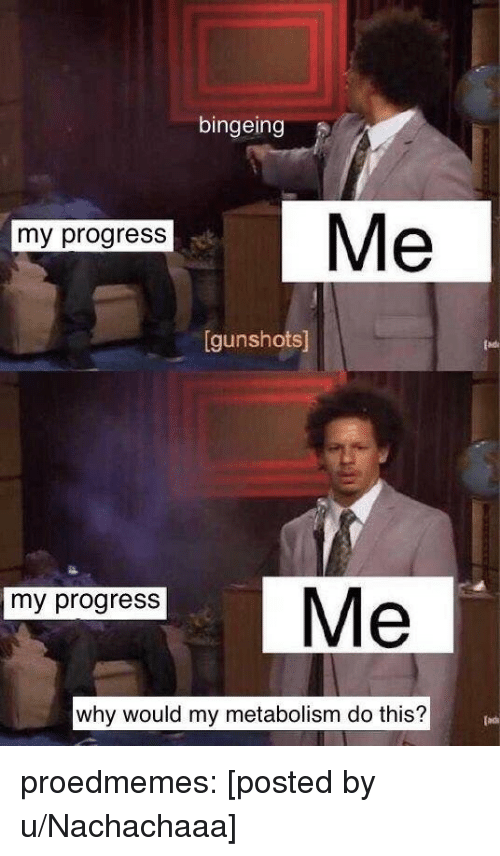 bingeing: bingeing  Me  my progress  gunshots  my progress  why would my metabolism do this? proedmemes:  [posted by u/Nachachaaa]