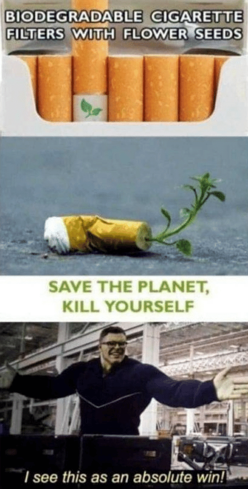 Filters: BIODEGRADABLE CIGARETTE  FILTERS WITH FLOWER SEEDS  SAVE THE PLANET,  KILL YOURSELF  I see this as an absolute win!