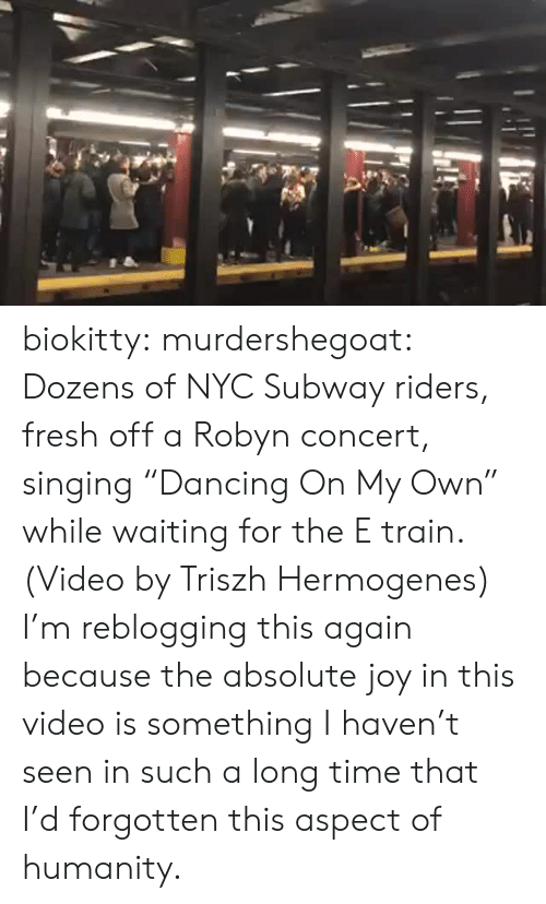 "on my own: biokitty: murdershegoat: Dozens of NYC Subway riders, fresh off a Robyn concert, singing ""Dancing On My Own"" while waiting for the E train. (Video by Triszh Hermogenes)  I'm reblogging this again because the absolute joy in this video is something I haven't seen in such a long time that I'd forgotten this aspect of humanity."