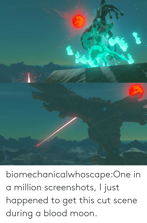 Moon: biomechanicalwhoscape:One in a million screenshots, I just happened to get this cut scene during a blood moon.
