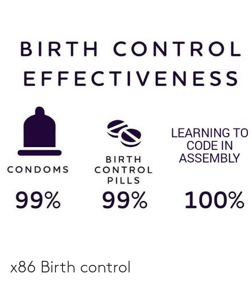 Learning: BIRTH CONTROL  EFFECTIVENESS  LEARNING TO  CODE IN  ASSEMBLY  BIRTH  CONDOMS  CONTROL  PILLS  100%  99%  99% x86 Birth control