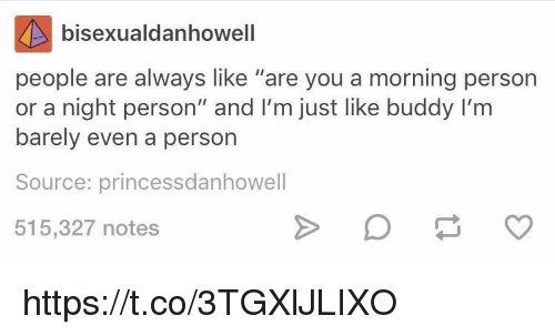 "Source, Ims, and You: bisexualdanhowell  people are always like ""are you a morning person  or a night person"" and I'm just like buddy I'm  barely even a person  Source: princessdanhowell  515,327 notes https://t.co/3TGXlJLIXO"