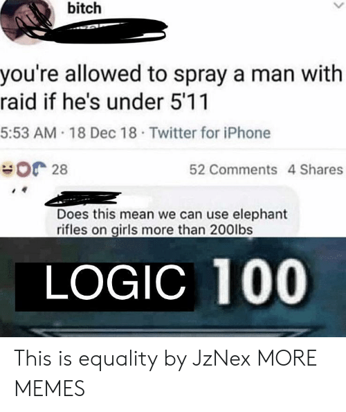 Anaconda, Bitch, and Dank: bitch  you're allowed to spray a man with  raid if he's under 5'11  5:53 AM 18 Dec 18 Twitter for iPhone  28  52 Comments 4 Shares  Does this mean we can use elephant  rifles on girls more than 200lbs  LOGIC 100 This is equality by JzNex MORE MEMES