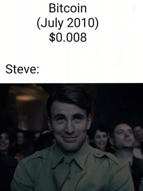 Memes, Bitcoin, and 🤖: Bitcoin  (July 2010)  $0.008  Steve: