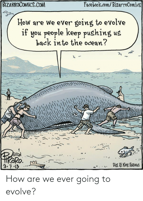 Evolve: BIZARROCOMICS.COM  Facebook.com/BizarroComics  How are we ever going to evolve  if you people keep pushing us  back into the ocean?  OPAN  HRƏRO.  3.7.13  Dist Y King Features How are we ever going to evolve?