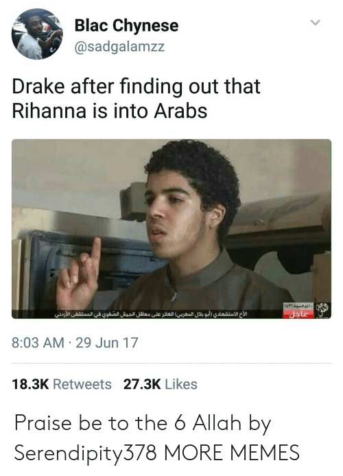 Dank, Drake, and Memes: Blac Chynese  @sadgalamzz  Drake after finding out that  Rihanna is into Arabs  8:03 AM 29 Jun 17  18.3K Retweets 27.3K Likes Praise be to the 6 Allah by Serendipity378 MORE MEMES