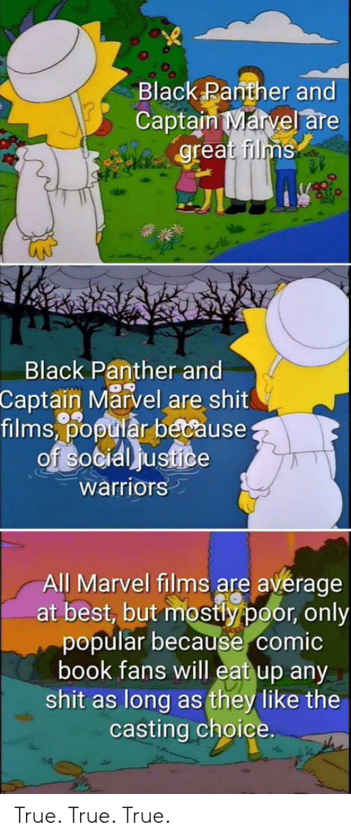 the casting: Black Panther and  Captain Marvel are  great films  Black Panther and  Captain Marvel are shit  films,% tiår because  warriors  All Marvel films are avérage  at best, but mostly poor, only  popular because comic  book fans will eat up any  shit as long as they like the  casting choice. True. True. True.