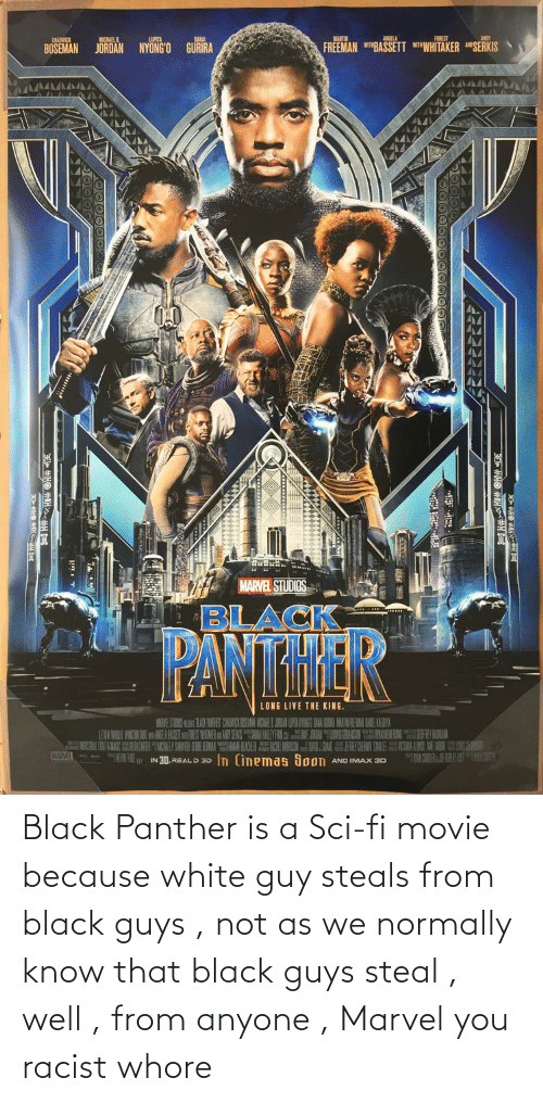 Black Panther: Black Panther is a Sci-fi movie because white guy steals from black guys , not as we normally know that black guys steal , well , from anyone , Marvel you racist whore