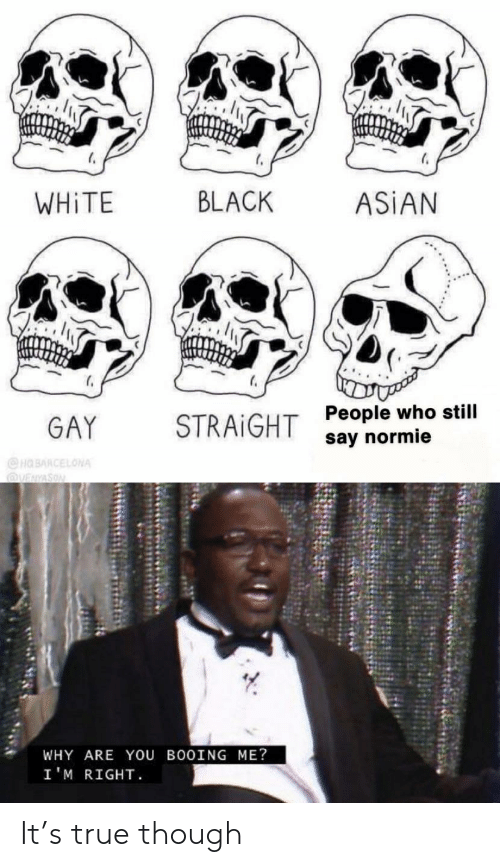 asian gay: BLACK  WHITE  ASİAN  GAY STRAIGHT  People who still  say normie  WHY ARE YOU BOOING ME?  I'M RIGHT It's true though