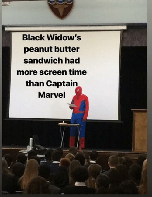 captain marvel: Black Widow's  peanut butter  sandwich had  more screen time  than Captain  Marvel