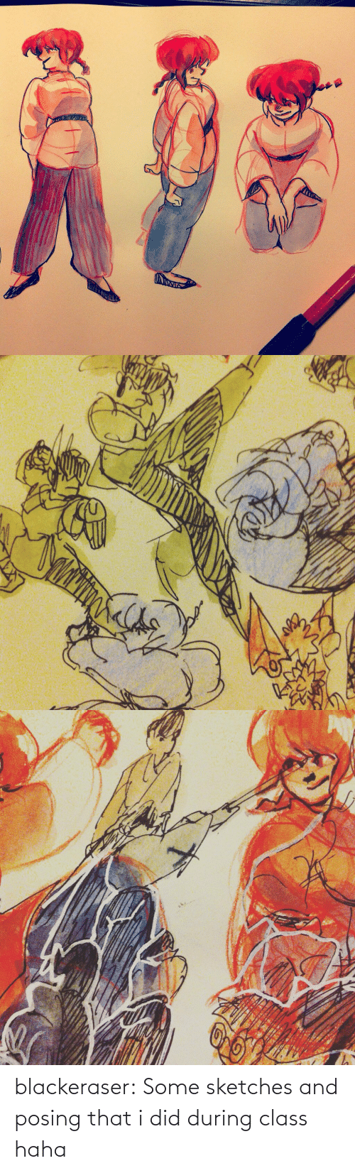 i did: blackeraser:  Some sketches and posing that i did during class haha