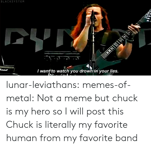 Not A Meme: BLACKSYSTEM  CYTY  I want to watch you drown in your lies. lunar-leviathans:  memes-of-metal: Not a meme but chuck is my hero so I will post this  Chuck is literally my favorite human from my favorite band