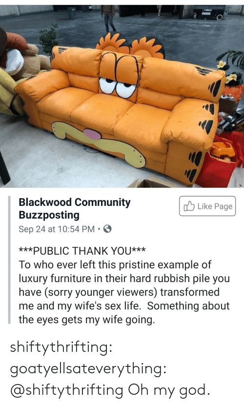 Furniture: Blackwood Community  Buzzposting  Like Page  Sep 24 at 10:54 PM  ***PUBLIC THANK YOU***  To who ever left this pristine example of  luxury furniture in their hard rubbish pile you  have (sorry younger viewers) transformed  me and my wife's sex life. Something about  the eyes gets my wife going. shiftythrifting: goatyellsateverything: @shiftythrifting  Oh my god.
