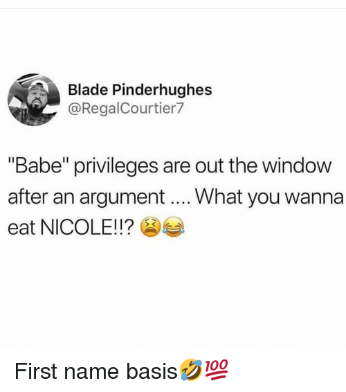 "Blade, Hood, and Name: Blade Pinderhughes  @RegalCourtier7  ""Babe"" privileges are out the window  after an argument What you wanna  eat NICOLE!!? First name basis🤣💯"