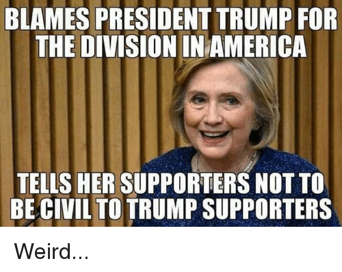 Memes, The Division, and Weird: BLAMES PRESIDENT TRUMP FOR  THE DIVISION INAMERICA  TELLS HER SUPPORTERS NOT TO  BE CIVILTOTRUMP SUPPORTERS Weird...
