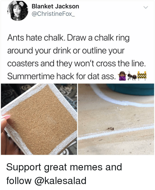 Dat Ass, Memes, and Cross: Blanket Jackson  @ChristineFox_  Ants hate chalk. Draw a chalk ring  around your drink or outline your  coasters and they won't cross the line  Summertime hack for dat ass.盝神器 Support great memes and follow @kalesalad