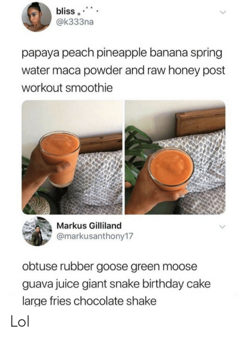 Pineapple: bliss  @k333na  papaya peach pineapple banana spring  water maca powder and raw honey post  workout smoothie  Markus Gilliland  @markusanthony17  obtuse rubber goose green moose  guava juice giant snake birthday cake  large fries chocolate shake Lol