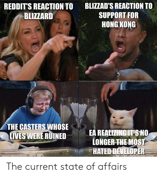 Funny, Blizzard, and Hong Kong: BLIZZAD'S REACTION TO  REDDIT'S REACTION TO  BLIZZARD  SUPPORT FOR  HONG KONG  THE CASTERS WHOSE  LIVES WERE RUINED  EA REALIZINGIT'S NO  LONGER-THE-MOST  HATED DEVELOPER The current state of affairs
