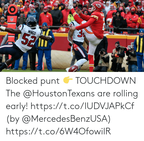 Early: Blocked punt 👉 TOUCHDOWN  The @HoustonTexans are rolling early! https://t.co/lUDVJAPkCf (by @MercedesBenzUSA) https://t.co/6W4OfowiIR