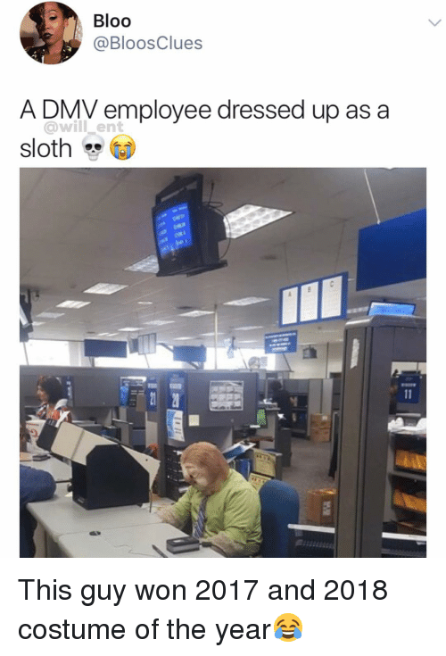 Dmv, Memes, and Sloth: Bloo  @BloosClues  A DMV employee dressed up as a  @will ent  sloth  ID This guy won 2017 and 2018 costume of the year😂