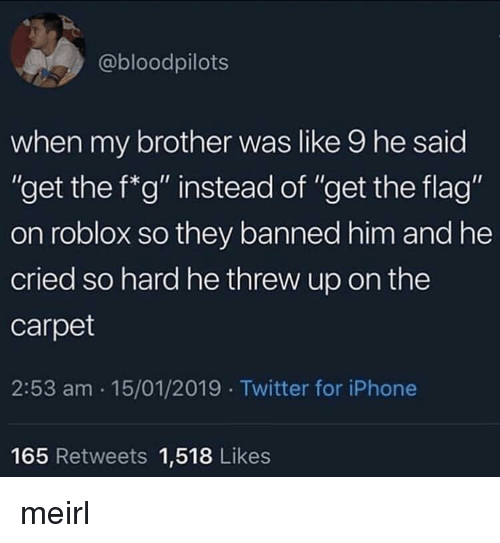 """roblox: @bloodpilots  when my brother was like 9 he said  """"get the f*g"""" instead of """"get the flag""""  on roblox so they banned him and he  cried so hard he threw up on the  carpet  2:53 am 15/01/2019 Twitter for iPhone  Ou  165 Retweets 1,518 Likes meirl"""