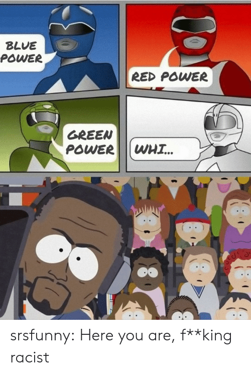 Tumblr, Blog, and Blue: BLUE  POWER  RED POWER  GREEN  POWER  WHI.. srsfunny:  Here you are, f**king racist