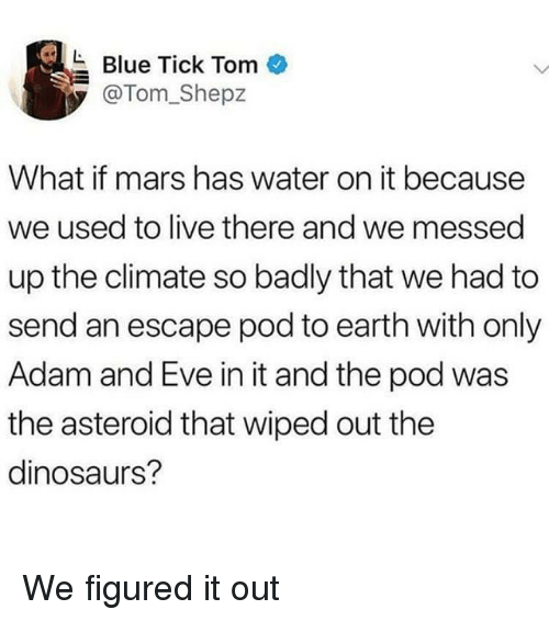 wiped: Blue Tick Tom  @Tom_Shepz  What if mars has water on it because  we used to live there and we messed  up the climate so badly that we had to  send an escape pod to earth with only  Adam and Eve in it and the pod was  the asteroid that wiped out the  dinosaurs? We figured it out