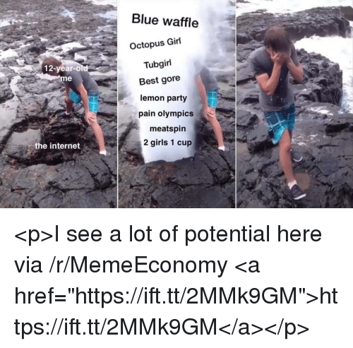 """Blue Waffle, Girls, and Internet: Blue waffle  Octopus Girl  Tubgirl  12-year-old  eme  Best gore  lemon party  pain olympics  meatspin  2 girls 1 cup  the internet <p>I see a lot of potential here via /r/MemeEconomy <a href=""""https://ift.tt/2MMk9GM"""">https://ift.tt/2MMk9GM</a></p>"""