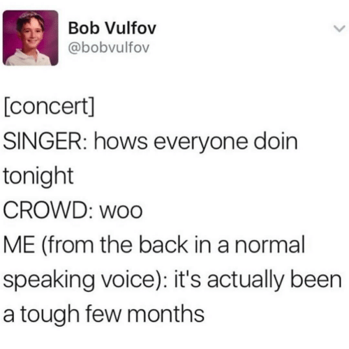 crowd: Bob Vulfov  @bobvulfov  [concert]  SINGER: hows everyone doin  tonight  CROWD: woo  ME (from the back in a normal  speaking voice): it's actually been  a tough few months