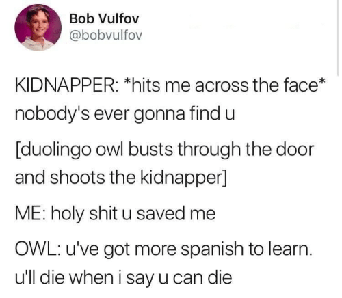 Shit, Spanish, and Got: Bob Vulfov  @bobvulfov  KIDNAPPER: *hits me across the face*  nobody's ever gonna find u  [duolingo owl busts through the door  and shoots the kidnapper]  ME: holy shit u saved me  OWL: u've got more spanish to learn  u'll die when i say u can die