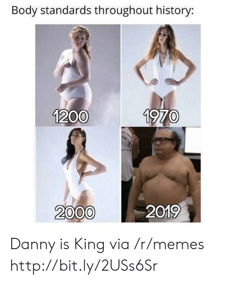 Memes, History, and Http: Body standards throughout history:  1200  1970  2000  2019 Danny is King via /r/memes http://bit.ly/2USs6Sr