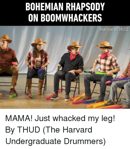 Dank, Harvard, and Rhapsody: BOHEMIAN RHAPSODY  ON BOOMWHACKERS  HarvardTHUD MAMA! Just whacked my leg!  By THUD (The Harvard Undergraduate Drummers)